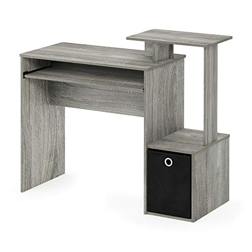 Furinno Multipurpose Home Office Computer Writing Desk w/Bin, Engineered Wood, French Oak/Black, 100.1 86.6 (H) x 39.9 (D) cm