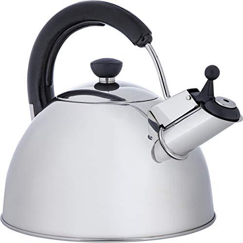 ONVAYA® Wasserkessel aus Edelstahl | 2,5 L | Wasserkocher | Teekocher | Klassischer Flötenkessel mit Pfeifton | induktionsgeeignet
