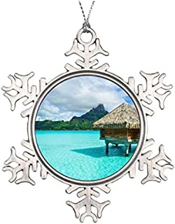 Blafitance Christmas Snowflake Ornaments Ideas for Decorating Christmas Trees Over-Water Bungalow Bora Bora Photo Snowflake Ornaments