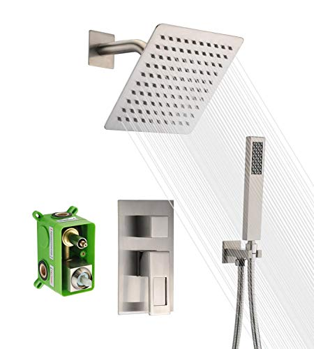SUMERAIN Shower Faucet Brushed Nickel,Rough-in Valve Included and Complete Metal Components,Customized Acceptable