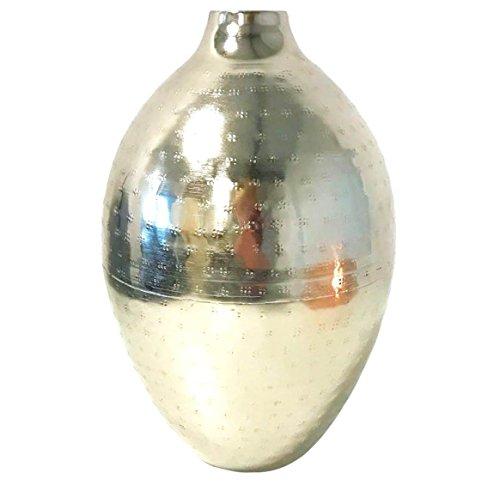 elegante Designer VASE | Silber gehämmert Chrom Metall | Blumen-Vase Pflanze Muster | 27 cm ~VDs
