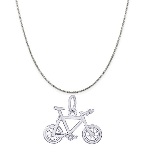 Rembrandt Charms Sterling Silver Mountain Bike Charm on a Sterling Silver Rope Chain Necklace, 16'