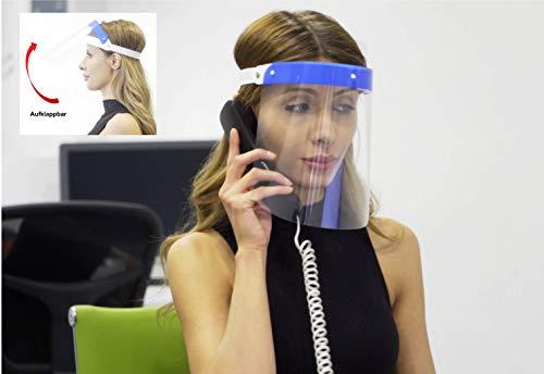 Fredo® Aufklappbar Gesichtsschtuz Visier aus Kunststoff Gesichtsvisier mit verstellbarem Gummiband - Für Mann/Frau/Kind - Blau