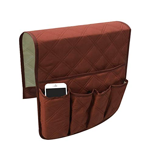 Sicneka Anti-Slip Sofa Chair Couch Armrest Organizer, 5 Pockets Armchair Storage Bag for Tablet, Phone,TV Remote Control,35 x 13 inches (Coffee)