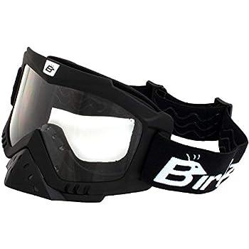 Birdz Eyewear Toucan Motorcycle + Ski Padded Goggles with Nose Guard + Clear Anti-Fog Lenses