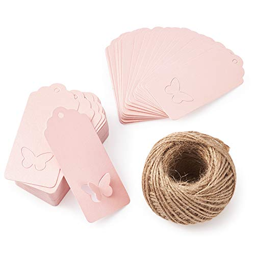 MegaPet 100pcs Pink Kraft Paper Gift Tags Printable Blank Hang Labels with 131 Feet Hanging String for Wedding Holiday Party Favors 3.54'x1.59' (9x4.05cm)