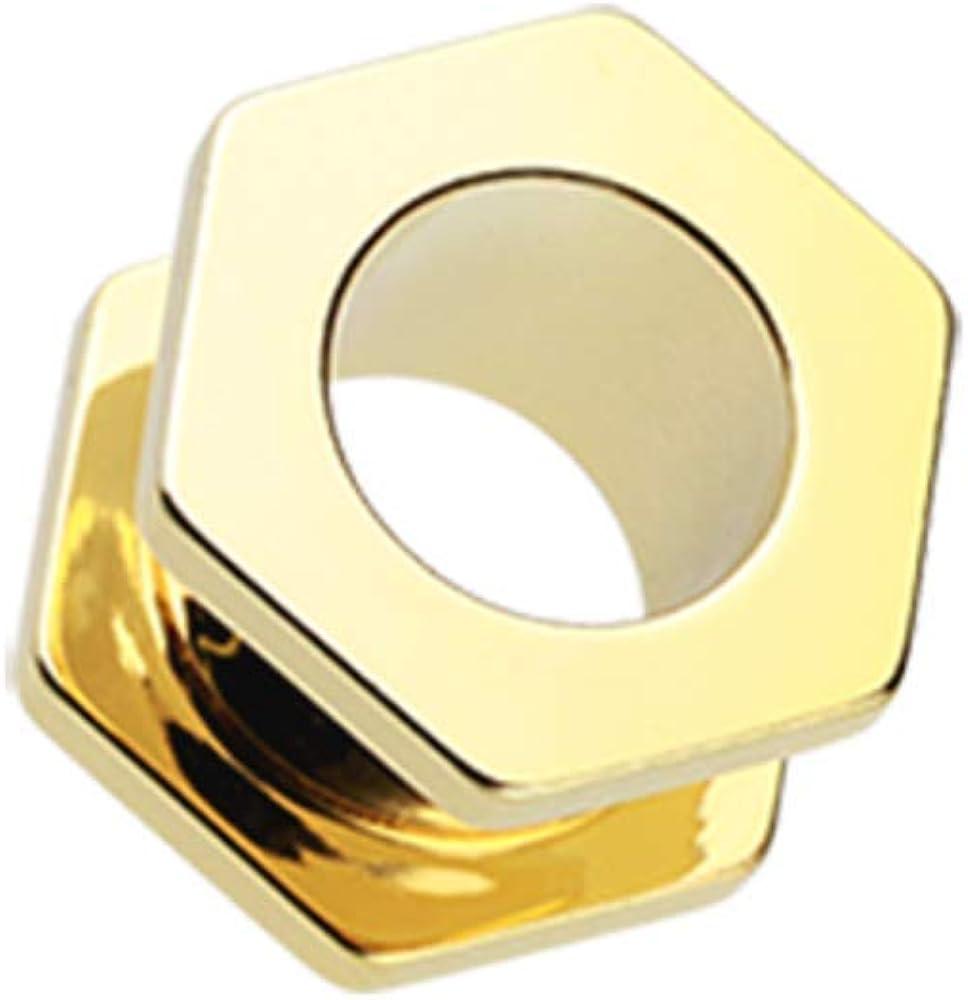 Gold PVD Hexa Bolt Screw-Fit Ear Gauge Tunnel WildKlass Plug