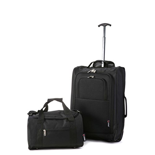 5 Cities Ryanair Cabin Approved Main and Second Set Carry On BothHand Luggage,55x35x20cm, 42 L, Black