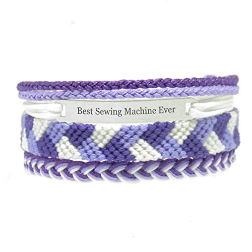 Miiras Job Handmade Bracelet for Women - Best Sewing Machine Ever - Purple - Made of Embroidery Thread and Stainless Steel - Gift for Sewing Machine