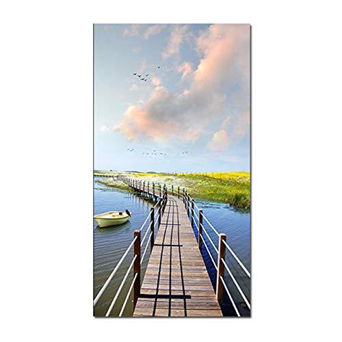 N / A Chuanhu Holzbrücke Landschaft Wasser Malerei Wandgemälde Leinwand Malerei Wohnzimmer Dekoration Malerei Home Decoration Rahmenlos 30X60CM