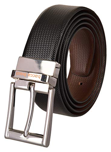 Bacca Bucci Men's Leather Belt (BBBA1027X-32_Black & Brown)
