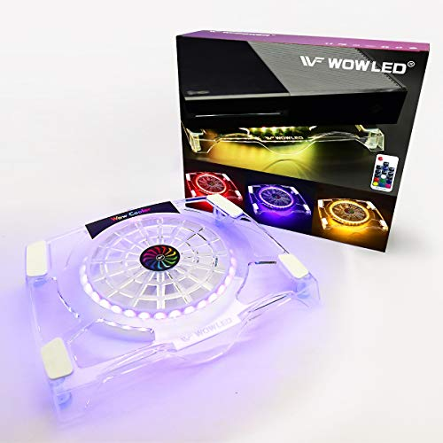 WF Cooling Fan with RGB LED Backlight, Multi-Color Gaming Mood LED Light Cooler Stand, RF Remote Control, Compatible with Xbox, PS4, Playstation 4 Pro, PS4 Slim, Consoles, Laptop, Notebook