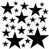 PREMYO Set de 25 Stickers Muraux Enfants Étoiles - Autocollants Décoration Murale Chambre Bébé - Facile à Poser Noir