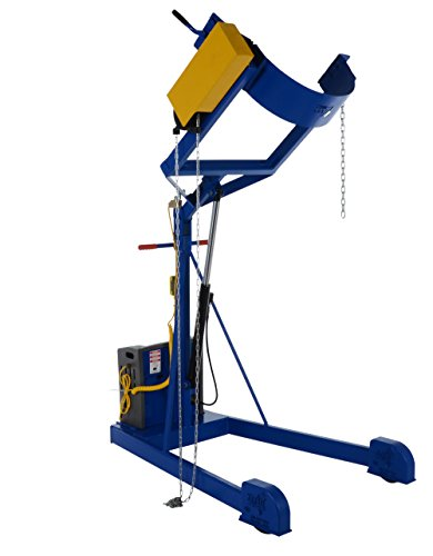 """Vestil HDC-305-96-AC AC Power Portable Hydraulic Drum Carrier/Rotator with Boom Attachment, Pull Chain Rotation, 800 lbs Capacity, 97 9/16"""" Lift Height"""