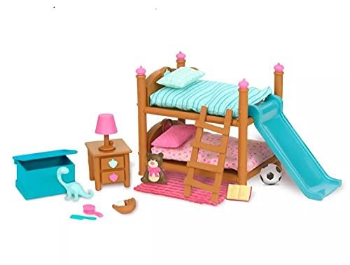 Li'l Woodzeez 18-teilig Schlafzimmer Kinderzimmer Zubehör Set – Hochbett, Rutsche und mehr – Tierfiguren Accessoire Spielzeug für Kinder ab 3 Jahren