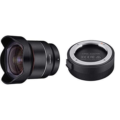 Samyang AF 14mm F2.8 Sony FE - Autofokus Ultraweitwinkel Objektiv mit 14 mm Festbrennweite für spiegellose Sony Vollformat und APS-C Kameras mit Sony E Mount + Lens Station für Sony E AF Objektive