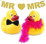 Inedit Festa Pareja de Patitos de Goma Novios Enamorados San Valentín Enamorados Boda Guirnalda Dorada Personalizable ó Mr and Mrs