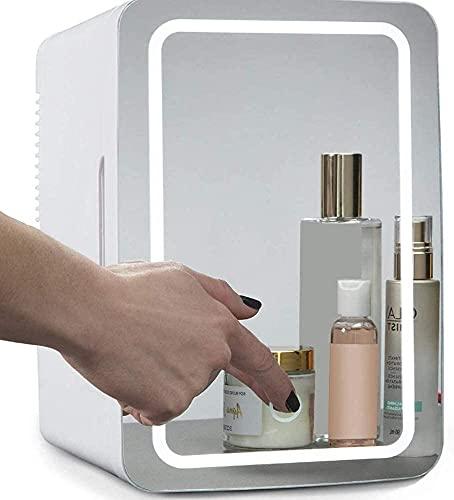 SUOMO Refrigerador doméstico Mini Beauty Fridge 8 litros, 2 En 1 Espejo De Maquillaje Refrigerador Cosmético para El Cuidado De La Piel con Luz LED, Refrigerador Portátil Calentador Mini Refrigerador