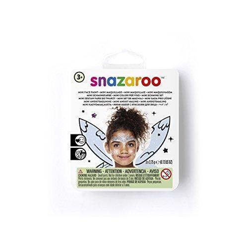 Snazaroo 1172085 Kinderschminke Mini Set Eisprinzessin, 3 Schminkfarben, Farben: Eisgrau, Blau, Weiß, 1 Pinsel, 1 Schwämmchen