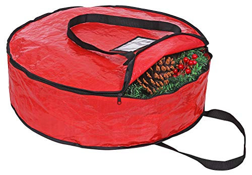 """ProPik Christmas Wreath Storage Bag 36' - Garland Holiday Container with Tear Resistant Fabric - Featuring Heavy Duty Handles and Transparent Card Slot - 36"""" X 8"""" (Red)"""