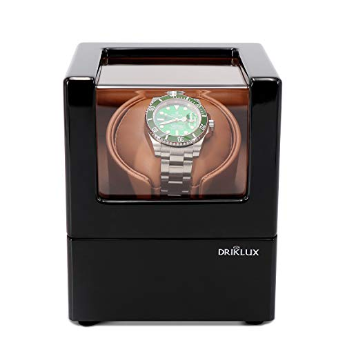 Driklux Automatic Single Watch Winder for Rolex with Quiet Motor,Premium Solid Wood Exterior and Soft Flexible Watch Pillows of Brown Leather