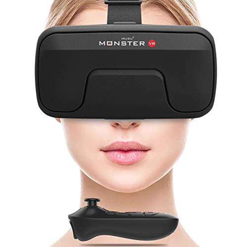Irusu Monster VR Headset with Remote Controller and Conductive Touch Button for VR Supported Smartphones(New Model)(Black)
