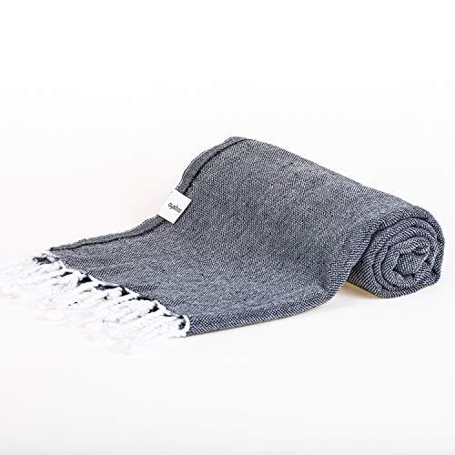 AYSIBOO 180x90cm Turkish Hamamtuch aus 100% hochwertiger Baumwolle I Bunte Pestemal Hamamtücher für Sauna und Strand I Hammamtuch, Fouta Towel - grau Uni 750040