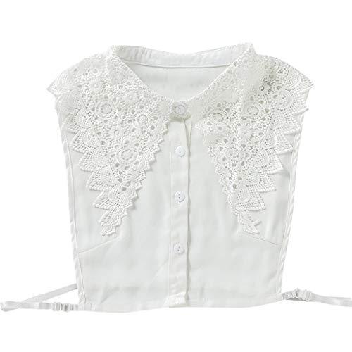 JOYKK Koreanische Frauen Blumenspitze Gefälschte Kragen Abnehmbare Knöpfe Große Spitz Revers Halbes Hemd Bluse Kleid Dekoratives Accessoire - Weiß