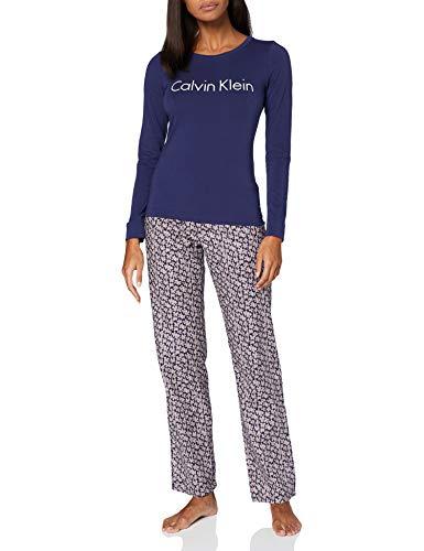 Calvin Klein Damen L/S Pant Set Pyjamaset, Raum Blau/Krinkel Blumig, XS
