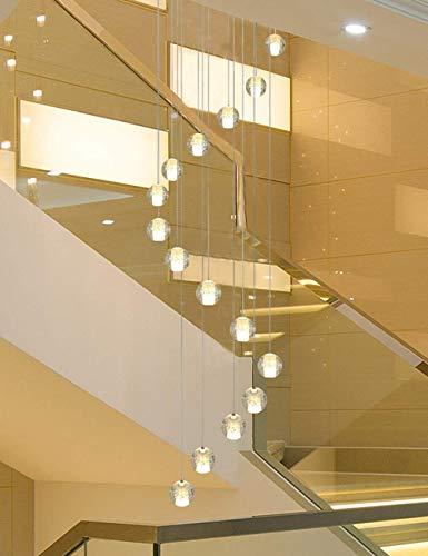 BUNUMO Lámpara de Techo de Bolas de Vidrio de 16 Piezas, lámpara de Escalera giratoria, lámpara Colgante de Villa Creativa para Restaurante, lámpara de araña Larga Moderna Simple