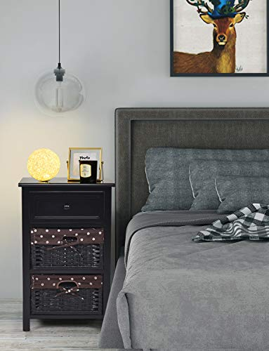 Nightstand Bedroom with Drawer and 2 Storage Baskets, 3-Tier Bedside Table for Living Room, Lightweight Night Stand, 16L x 12W x 25H, Black