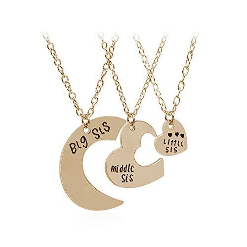 WPCASE Collar Mujer Collar de Brillante Collar Hipoalergénico Collar Collar de Acero Inoxidable Collar para Regalo Collar de corazón Lindo Collar de Gold