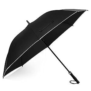 長傘 メンズ EECOO 紳士傘 大きい 158cm 強化グラスファイバー材質 梅雨対策 耐風 撥水 8本骨 最大三人用 ワンタッチ 自動開け ジャンプ傘 ゴルフ用長傘 通勤 通学 家族 ビジネス用 収納ポーチ付き(ブラック)