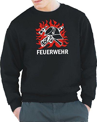 feuer1 Sweatshirt Black, Feuerwehr und DDR-Helm in Flammen