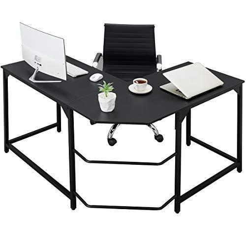 Corner Desk L Shaped Desk Sturdy Home Office PC Laptop Workstation Gaming Computer Desk Study Writing Table Easy to Assemble Simple Design Black