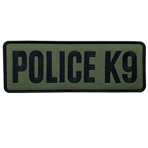 """uuKen Large OD Green US Police K9 Unit Embroidered Officer Patch 8.5x3 inches with Hook Fastener Back for Law Enforcement Tactical Vest Jacket Uniform (OD Green and Black, Large 8.5""""x3"""")"""