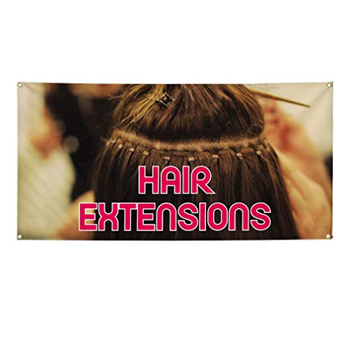 Vinyl Banner Multiple Sizes Hair Extensions Advertising Printing A Business Outdoor Weatherproof Industrial Yard Signs Brown 4 Grommets 12x30Inches