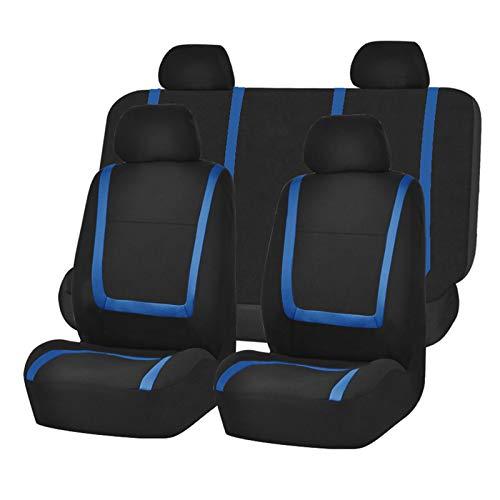 Fundas de asiento de automóvil clásicas, conjunto completo de 8 accesorios delanteros y traseros para interiores de automóviles Diseño universal con cubierta para reposacabezas,Azul