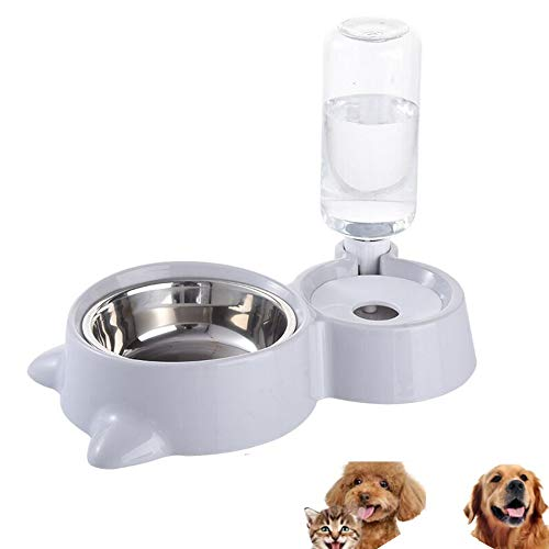 HappyCat Small Pets Water and Food Bowl Set, Dogs Cats Feeder Bowl and Automatic Water Dispenser Double Pet Bowls with Automatic Waterer Bottle for Small or Medium Size Dogs Cats (Gray)