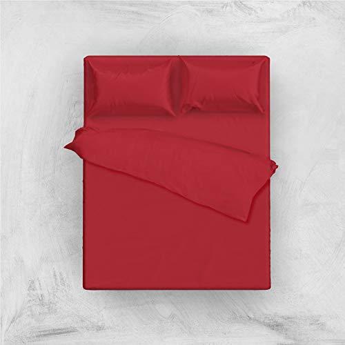 L'ANTICO ARCOLAIO Set Completo Letto Lenzuola 100% Cotone Tinta Unita (Rosso, Matrimoniale 2P)