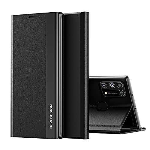 Galaxy A21S Funda, Midcas Ultra-Delgado Cierre Magnético Flip Cover Piel sintética Carcasa con Soporte Plegable para Samsung Galaxy A21S Negro