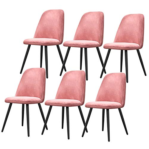 Dining Chairs Set of 6 for Modern Kitchen Dining Room with Black Metal Legs Thick Velvet Fabric Upholstered Seat Office Lounge (Color : Pink)