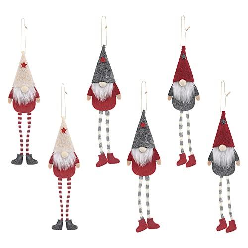 6 PCS Set di Ornamenti Natalizi di Gnomi, Natale Senza Volto Gnomo Natalizi in Peluche di Gnomo Gamba Lunga Albero di Natale di Babbo Natale Decorazioni per Decorazioni per la Casa di Natale