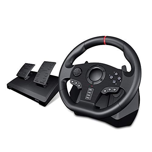 LLGHT Volante de Carreras y Pedales, Force Feedback, Juego de Volante de Cuero para PC / PS3 / PS4 / Xbox One/Xbox 360 / Switch, Motores de Doble Vibración Incorporados