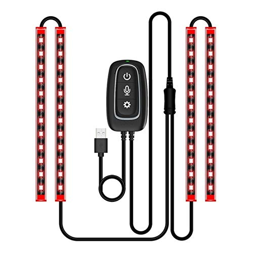 XIAOYAFANG Hxfang Puerto del Cargador del Coche LED Luces Interiores LED Franja App controlada Impermeable del USB Sonido Activado Multicolor Música Hot Now (Color : Red)