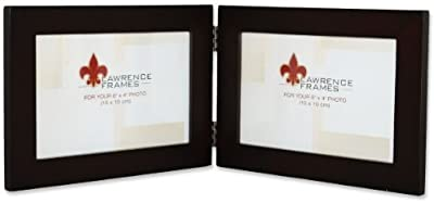 Lawrence Frames Walnut Wood 6 by 4 Hinged Double Picture Frame by Lawrence Frames