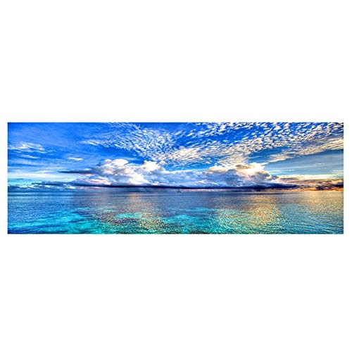 N / A Nature Sunset Can Lake Landscape Poster and Print Canvas Painting Mediterranean Living Room Painting Pictures Frameless 50x150cm