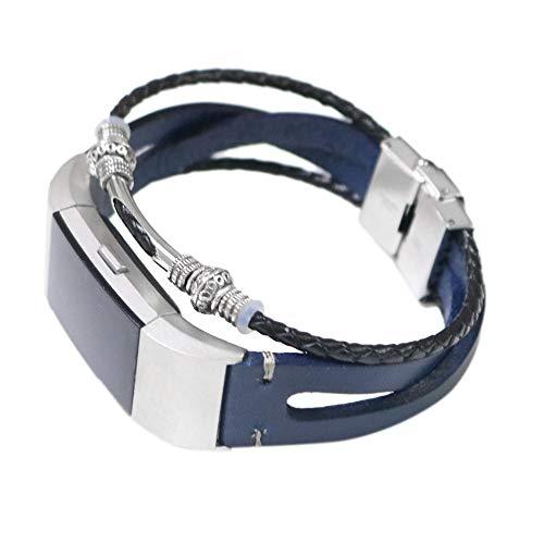 Kompatibel Für Fitbit Charge 2 Retro Leder Armbänder verstellbares Uhrenarmband Wristband Handgelenk Ersatz Strap Damen Herren Für Band Fitbit Charge 2 Deng Xuna (Blau)