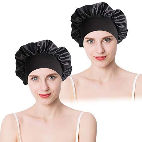 2 Pièces Bonnet de Couchage en Satin, Bonnet en Soie pour Cheveux Nuit, Bonnet de Sommeil avec Large Bande élastique, Respirant Bonnet de Nuit pour Femmes Filles (Noir)