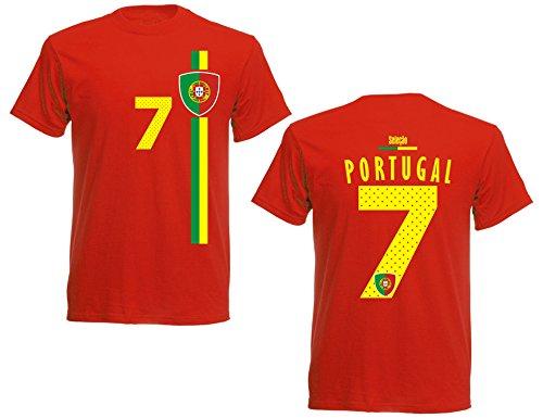 Portugal Herren T-Shirt Nummer 7 Trikot Fußball Mini EM 2016 T-Shirt - S M L XL XXL - rot NC ST-1 (S)